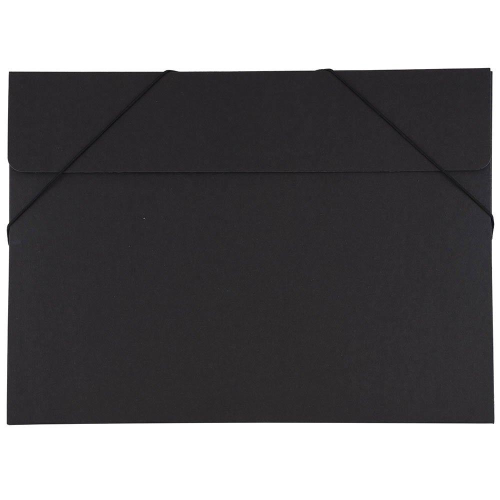 JAM Paper Kraft Portfolio with Elastic Closure - Large - 11'' x 15'' x 3/8'' - Black Recycled - Sold Individually