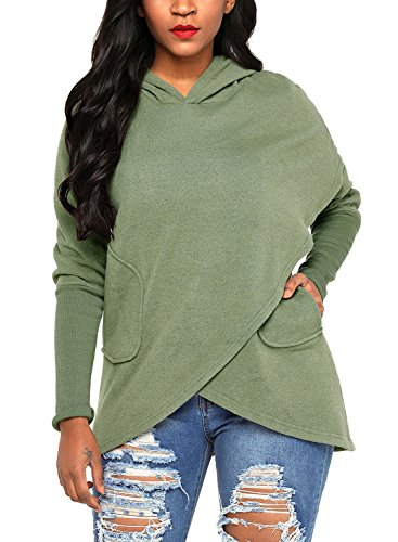 Hooded Wrap Jacket - Asvivid Women's Asymmetrical Hoodies Wrap Long Sleeve Hooded Solid Sweatshirt Jacket Coats Plus Size 1X Green