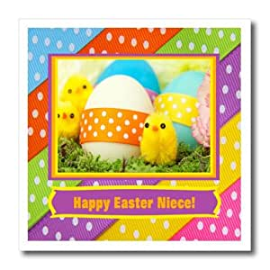 ht_174075_3 Beverly Turner Easter Design and Photography - Soft Yellow Chicks with Eggs and Dotted Ribbon, Happy Easter Niece - Iron on Heat Transfers - 10x10 Iron on Heat Transfer for White Material