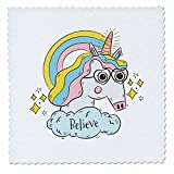 3dRose Sven Herkenrath Animal - Funny Fantasy Unicorn with Sunglasses Believe - 18x18 inch quilt square (qs_280356_7)