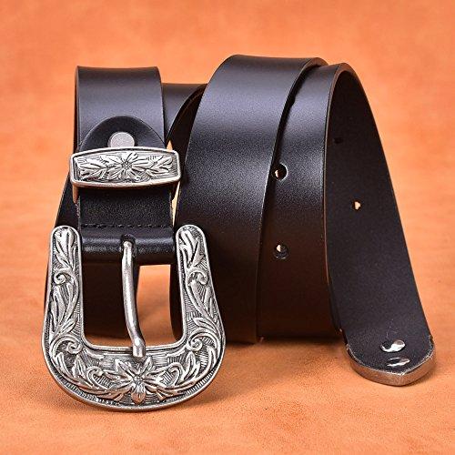 "TALLEFFORT Ladies Vintage Western Leather Belts for Women Genuine Leather Belt (Waist Under 36'', Black 1.1"" Wide)"