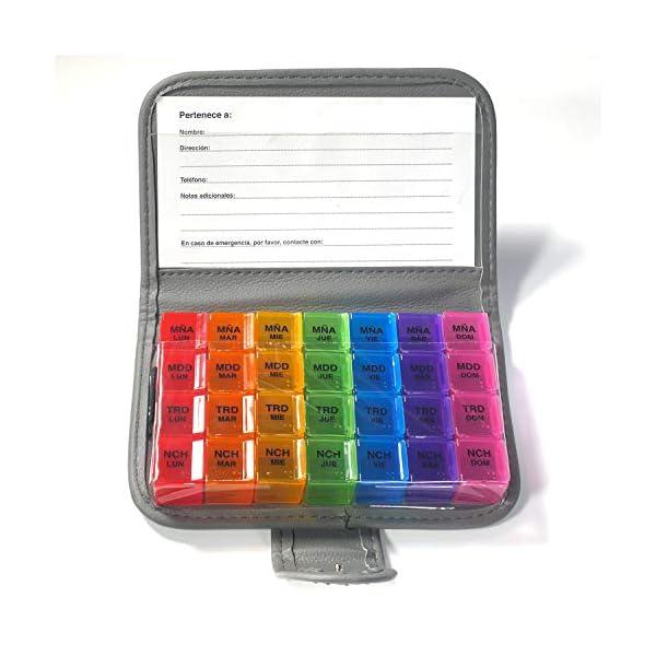 PuTwo Pastillero 7 Días Pill Wallet con 28 Compartimientos Recordatorio de Pastillero Pill Reminder - Version en Español 6