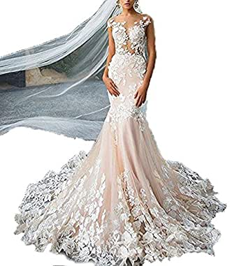 Women's Wedding Dress Appliques White Mermaid Cap Sleeves Back Open Bridal Gown