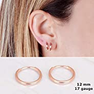 Tiny Rose Gold Filled Hoop Earrings - Designer Handmade 12mm Delicate Pair of Hoops
