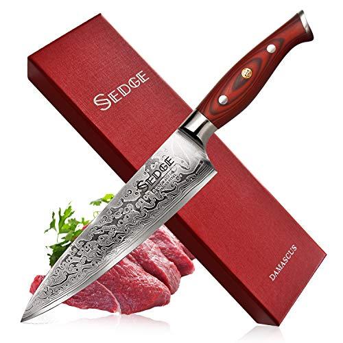 Sedge Chef knife 8 Inch - Japanese Damascus AUS-10V High Carbon Steel - Pro Chefs Knife - Non-Slip Ergonomic G10 Handle - SD-S Series ()