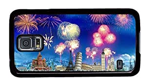 Hipster Samsung Galaxy S5 Case poetic cases New Year Firework PC Black for Samsung S5