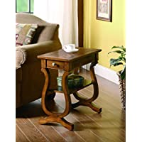Coaster 900975 Chairside Table with Storage Drawer and Shelf, Warm Brown