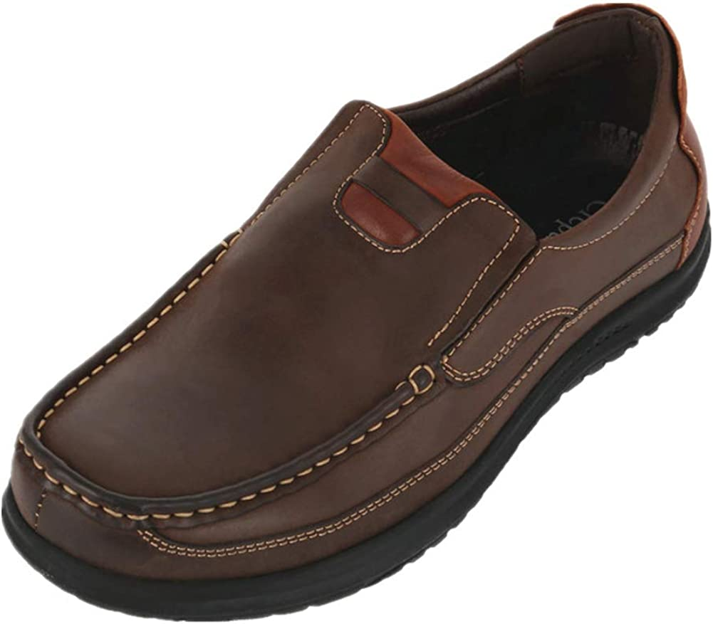 CREPUSCOLO Men's Leather Safety and trust In stock Shoes Slip-on Loafers Comfortabl Casual