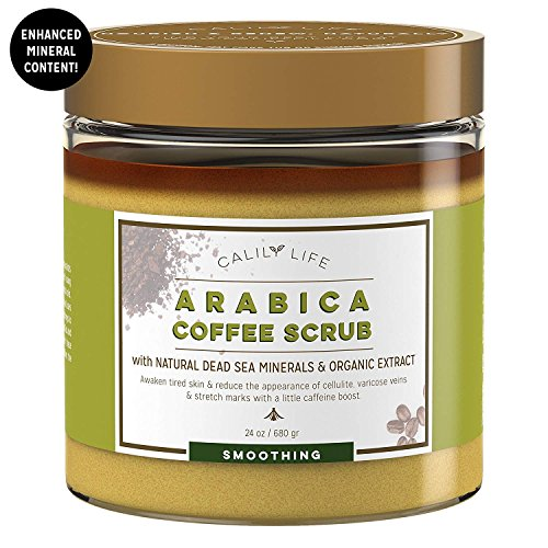 Calily Life Organic Arabica Coffee Scrub with Dead Sea Minerals, 24 Oz. - Helps for Wrinkles, Stretch Marks, etc. - Deep Hydrating, Exfoliating and Cleansing - Achieve Smooth and Firm Skin [ENHANCED]