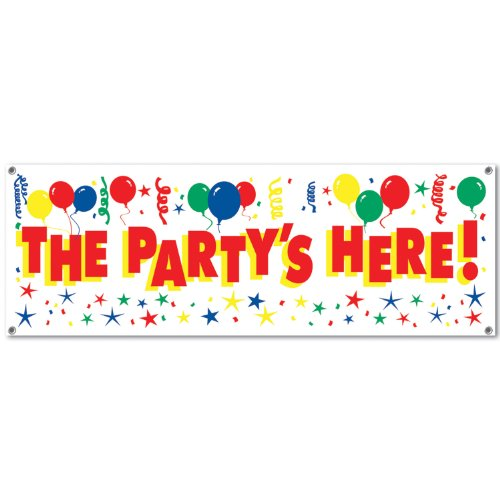 Beistle The Party's Here Sign Banner, 5-Feet by 21-Inch]()