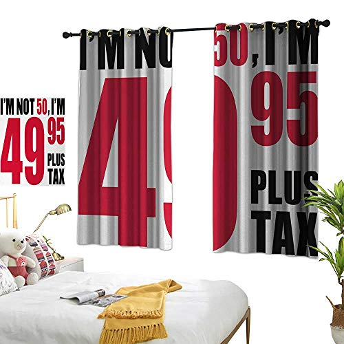 Bedroom Curtains W55 x L72 50th Birthday,Hilarious Catchphrase Old Age Fifthy Feeling Young Humorous and Funny,Red Black White Blackout Window Curtains Living Room Dining Room Kids Youth Room -