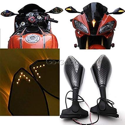 Amazon.com: Fincos Carbon Fiber LED Turn Signals Mirrors for ...