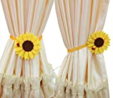 Ayygift 1 Pair Sunflower Curtain Magnetic Tiebacks Non-woven Fabric Countryside Rural Style Curtain Tie Holdbacks Accessories