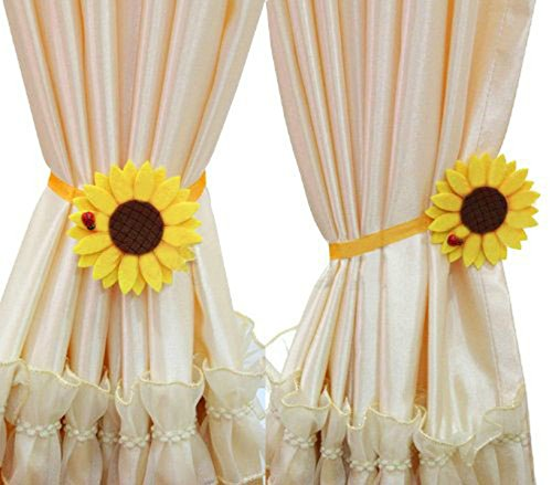 (Ayygift 1 Pair Sunflower Curtain Magnetic Tiebacks Non-woven Fabric Countryside Rural Style Curtain Tie Holdbacks Accessories)