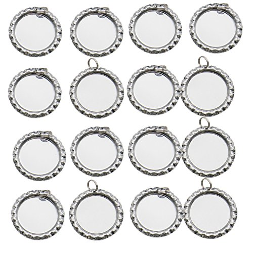 30 pcs Flattened Flat Silver Linerless Bottle Caps with Holes plus 8mm Split Rings