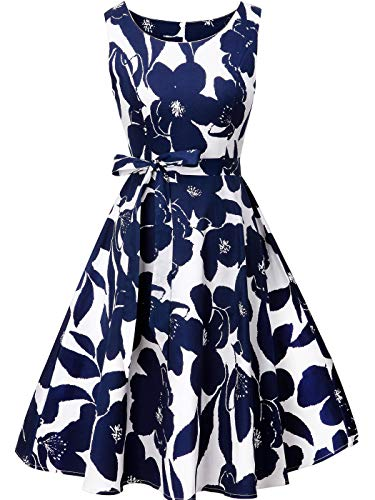 - FAIRY COUPLE Women's 1950's Bowknot Vintage Retro Polka Dot Rockabilly Party Swing Dress L White Navy Blue Flowers