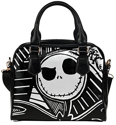 High-grade PU Leather Female Women Shell Shoulder Handbag Tote Bags with Jack Skellington Pattern