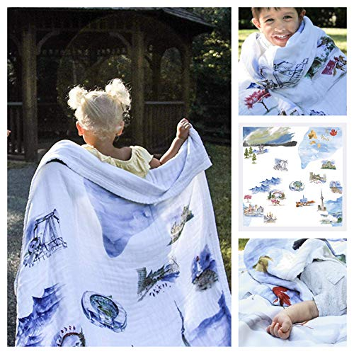 Baby Blanket The North 8 Layers Luxury Bamboo Organic Cotton Toddler Boy Girl ()
