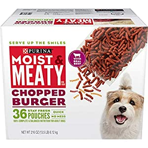 Purina Moist & Meaty Wet Dog Food, Chopped Burger – 36 ct. Pouch