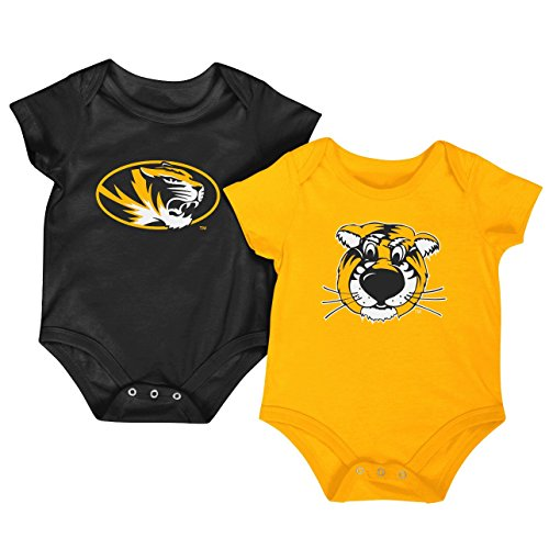 Colosseum NCAA Short Sleeve Bodysuit 2-Pack-Newborn and Infant Sizes-Missouri Tigers-0-3 Months ()