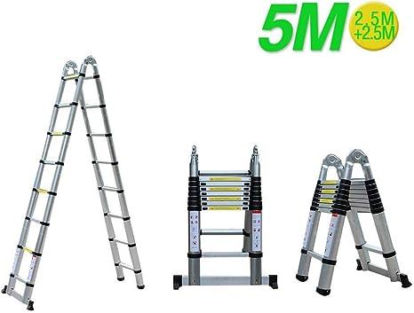 Escalera Plegable Escalera telescópica de Aluminio de 5M Escalera retráctil Escalera Multifuncional Escalera de Aluminio 150 kg Capacidad de Carga: Amazon.es: Deportes y aire libre