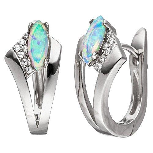 Boucles d'oreilles créoles Opale Bleu clair spitzoval & Oxyde de Zirconium Blanc Argent 925rhodié