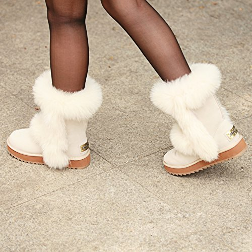 Lined Women's AUSLAND Midcalf Leather White Platform Shoe Suede Wool Boot HOwqxw