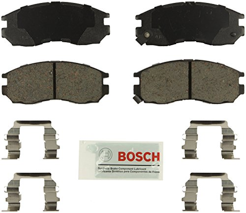 Bosch BE484H Blue Disc Brake Pad Set with Hardware for Select 1990-05 Chrysler, Dodge, Eagle, Mitsubishi, and Plymouth Vehicles - FRONT (Mitsubishi Of Eagle)