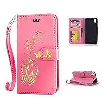 HTC Desire 626 / 626s Case, Kmety Golden Butterfly Flip Folio PU Leather Kickstand Wallet Purse Case with Wristlet & Credit Card Slots Cash Holder for HTC Desire 626 / 626s