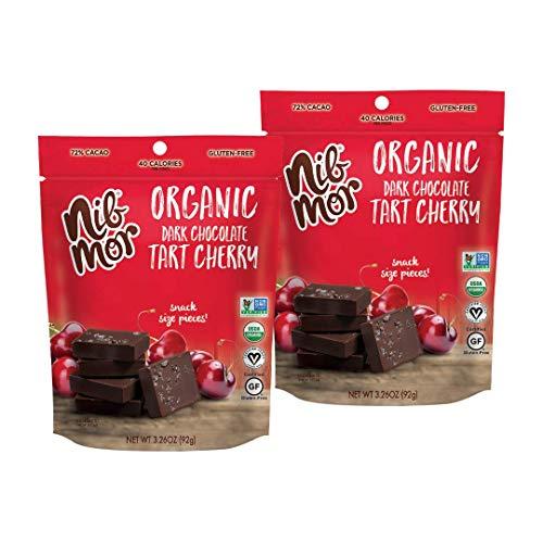 Nib Mor Organic Dark Chocolate Snacking Bites - 72% Cacao | Perfect Gift or Indulgent Treat - 3.26 Ounce Pack of 2 (Tart Cherry)