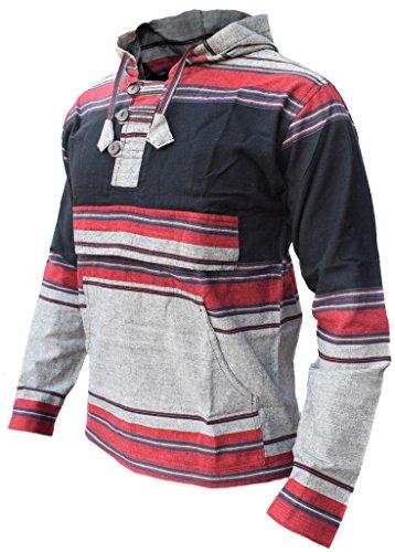 Little Kathmandu Männer Schwarz Grau Mix Pullover Heavy Baumwolle Grandad Kapuzenpullover