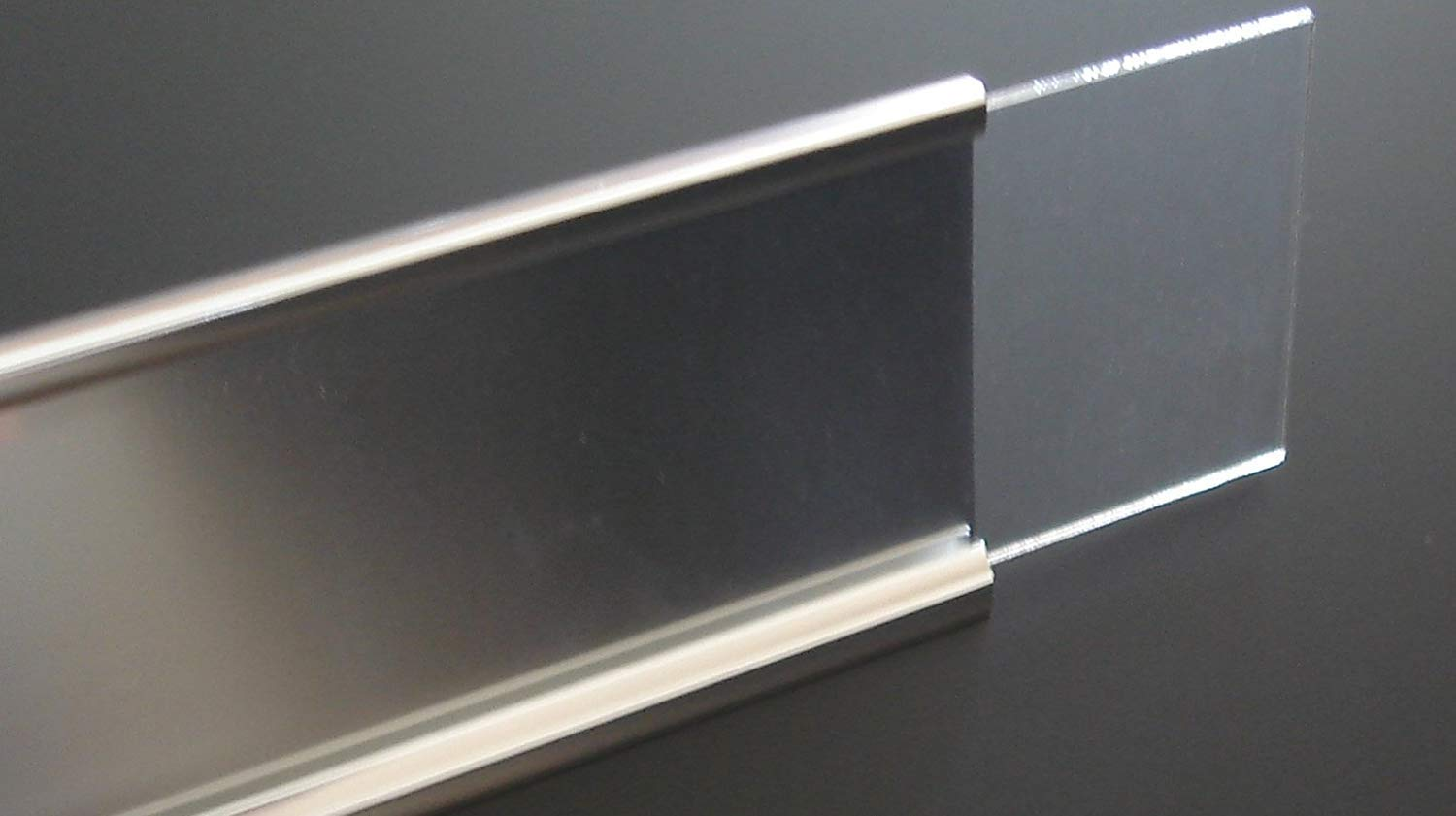 Set of 100 2x8 Wall Name Plate Holder with Clear Plastic Insert (Make Your Own Name Plates) (Matte Silver)