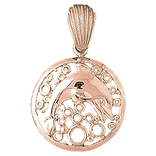- Rose Gold-plated Silver 39mm Dolphins Jumping Through Hoop Pendant