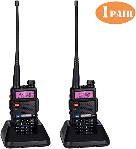 BF-F8HP Walkie Talkie,Dual Band 128 Channel VHF 136-174 UHF 400-520 MHz UHF UV-5R 5W Two-Way Radio Walkie Talkie W Earpiece Range from 1.8 to 3.1 Miles,Li-ion Battery and USA Charger Included,1Pair