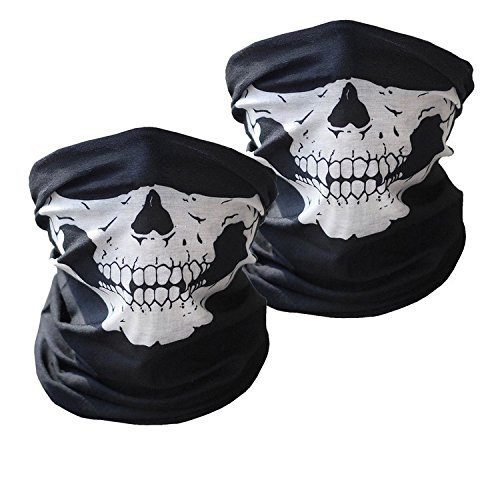 Motorcycle Face Masks 2 Pieces XINSIR Seamless Skull Mask Half Face for Out Riding Motorcycle Dust Mask Black