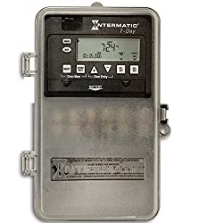 Intermatic ET1725CPD82 7-Day 30-Amp 2 Circuit Spst Or DPST Electronic Time Switch with Clock Voltage 120-277 Vac & Nema 3R Plastic Cover, Gray