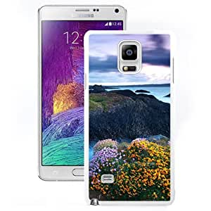 Fashionable Custom Designed Samsung Galaxy Note 4 N910A N910T N910P N910V N910R4 Phone Case With Rocky Shore Highlands Flowers_White Phone Case