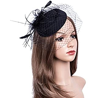 8c73911d Fascinators Hats 20s 50s Hat Pillbox Hat Cocktail Tea Party Headwear with  Veil for Girls and