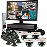REVO America R164D4FB4FM18-2T Surveillance System with 16 Channel 2TB DVR, 18.5-Inch LED Monitor and 600TVL Quick Connect Cameras (Black)