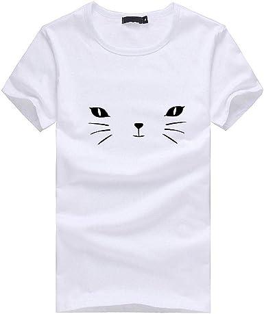 VECDY Casual Mujeres Camisa De Manga Larga con Estampado De Gato De Manga Corta para Mujer Suave Camiseta Blusa Top: Amazon.es: Ropa y accesorios