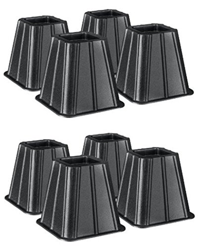 Set of 4 (2 Pack) Bed Risers Raise Furniture Create Underbed Storage