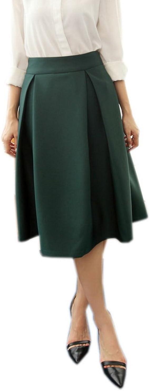 TIFENNY Womens Fashion High Waist Pleated Skirt Fold Soild Color Vintage Loose Beach Wrap Maxi Long Dress