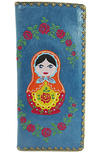 Lavishy Beautiful Russian Nesting Doll and Flower Embroidered Large Wallet (Blue) ()