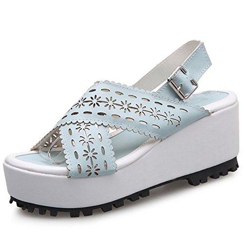TAOFFEN Women Cross Platform Wedge Heel Slingback Summer Sandals Blue 4vSVy
