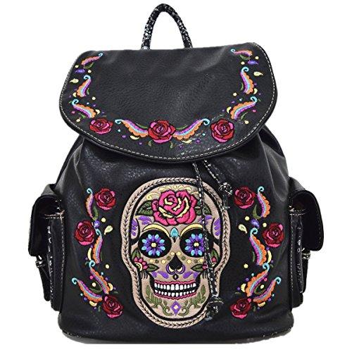 Western Sugar Skull Anti Theft Backpack Halloween Biker Bookbag Girl Shoulder Bag -