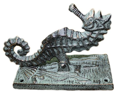 - WD- 6 inch Primitive Heavy Cast Iron Antique Style Nautical SEAHORSE Door Knocker Sea Shell Cast Iron Green Finish