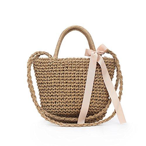DgTech Artesanal mimbre tejida ronda mango bolso de paja tejida bolsa verano playa bolsa para mujeres Gray and Black small Khaki Big
