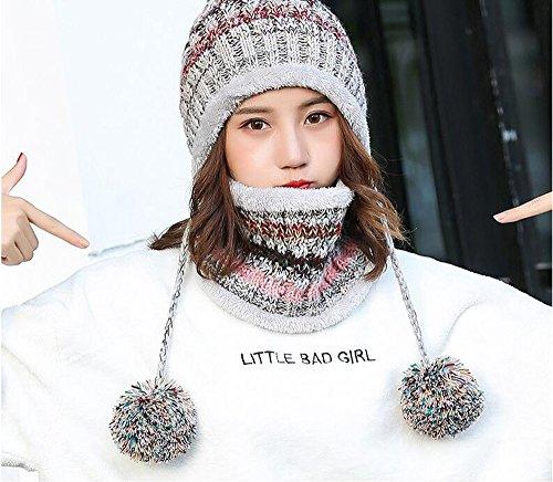 d5cbd8ccb7019 Fleece Lined Women Knit Beanie Scarf Set Girls Winter Ski Hat with Earflap  Pompom (Grey