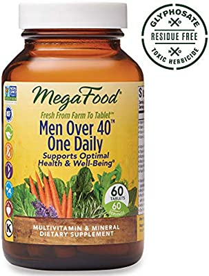 MegaFood, Men Over 40 One Daily, Daily Multivitamin and Mineral Dietary Supplement with Vitamins B, D and Zinc, Non-GMO, Vegetarian, 60 Tablets (60 Servings)