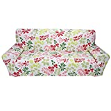 Elastic Anti Wrinkle Couch Covers, Printed Stylish Sofa Slipcover 1- 4 Seat Soft Lightweight Slip Resistant Sofa Furniture Protector Cover Fit Many Popular Sofas (3Seat=75''-91'', Hawaii)